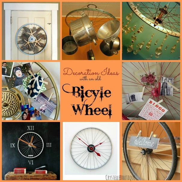 Decorating ideas with an old bicycle wheel crystelle for Bike decorating ideas